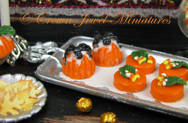 Crown Jewel Miniatures spider cakes, foil-wrapped chocolate balls and shortbread leaf cookies