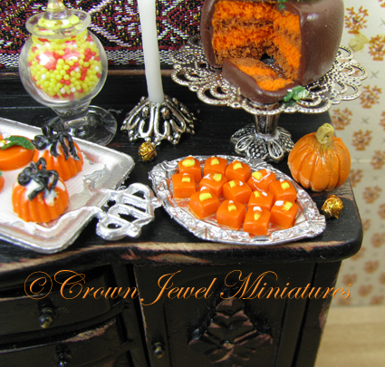 Candy corn topped petite fours